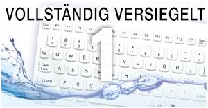 Die Tastatur hat keine Öffnungen, Fugen oder Nähte in denen sich Erreger sammeln können. Sie kann problemlos abgewischt, untergetaucht, oder Wasserstoffperoxid-Dampf ausgesetzt werden.