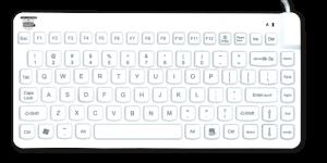slim cool tastatur Man & Machine desinfizierbare Tastaturen Mäuse hygienekritische Bereiche Gesundheitswesen Krankenhaus Medizin Infektionskontrolle geräuschlos Hygienetastatur Medizintastatur Desinfektion Komfort IP68