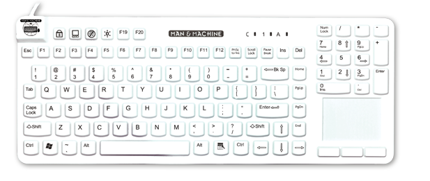 really cool touch keyboard shade Man Machine logo hygienic waterproof keyboards mice clean with alcohol clean with chloride silent typing use keyboard in hospital