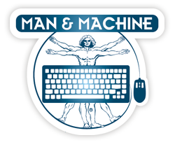 mm logo blue da vinci transparant Man Machine logo hygienic waterproof keyboards mice clean with alcohol clean with chloride silent typing use keyboard in hospital