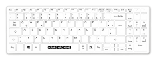 its cool flat top keyboard shade Man Machine logo hygienic waterproof keyboards mice clean with alcohol clean with chloride silent typing use keyboard in hospital