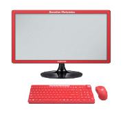 red computer monitor with red keyboard and mouse