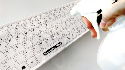 It Cool Keyboard getting sprayed with EPA approved disinfectant.