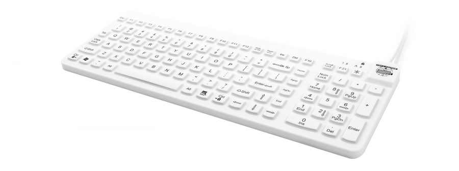 This waterproof keyboard is a washable at the workstation and made to handle most hospital cleaners.